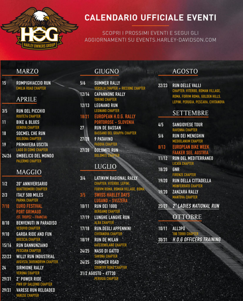 Calendario eventi H.O.G. 2020